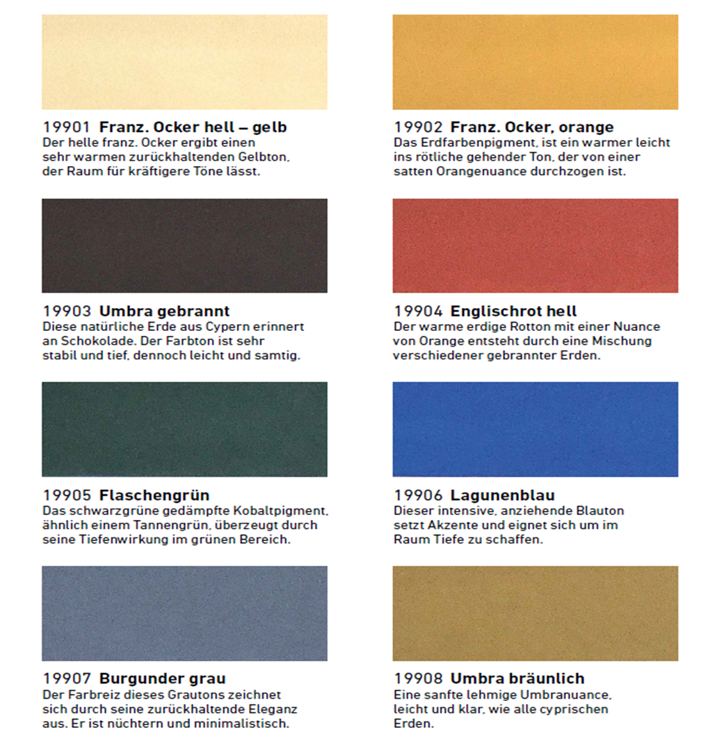 these solvent free water soluble wall paints are obtained from natural raw materials and are available in eight different shades - Tiefenwirkung Durch Farben
