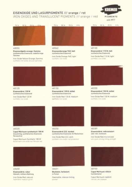 Color Chart Kremer Pigments Iron Oxides Colour Charts Books