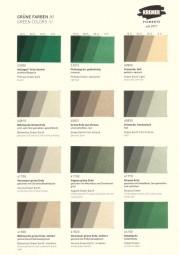 Farbkarte Kremer Pigmente - Grüne Farben