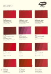 Farbkarte Kremer Pigmente - Rote Farben